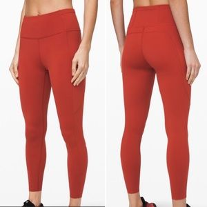 """NWT Fast and Free 25"""" tights in deep red women's 4"""